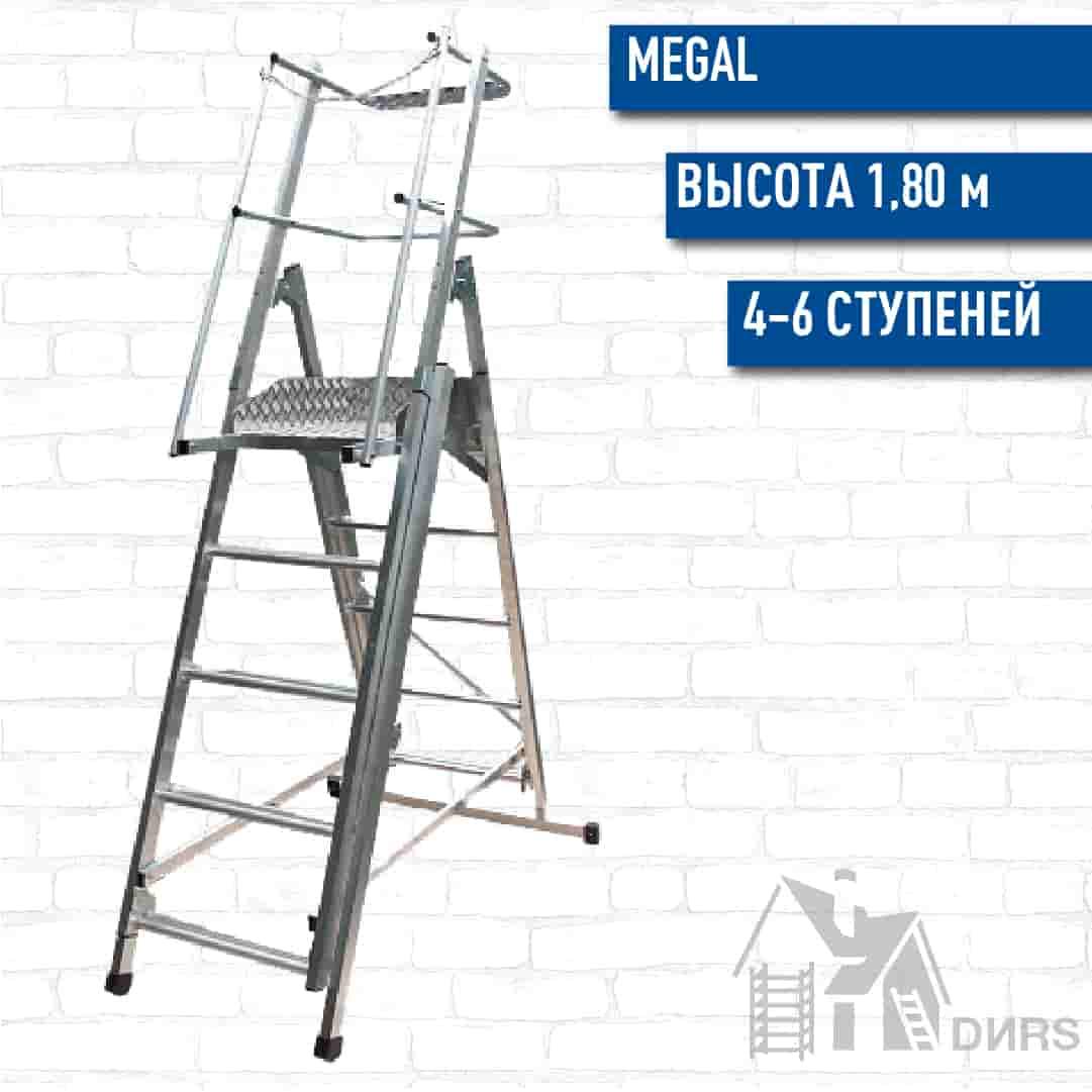 Телескопическая лестница платформа Мегал ТЛП-2 4-6 ступеней