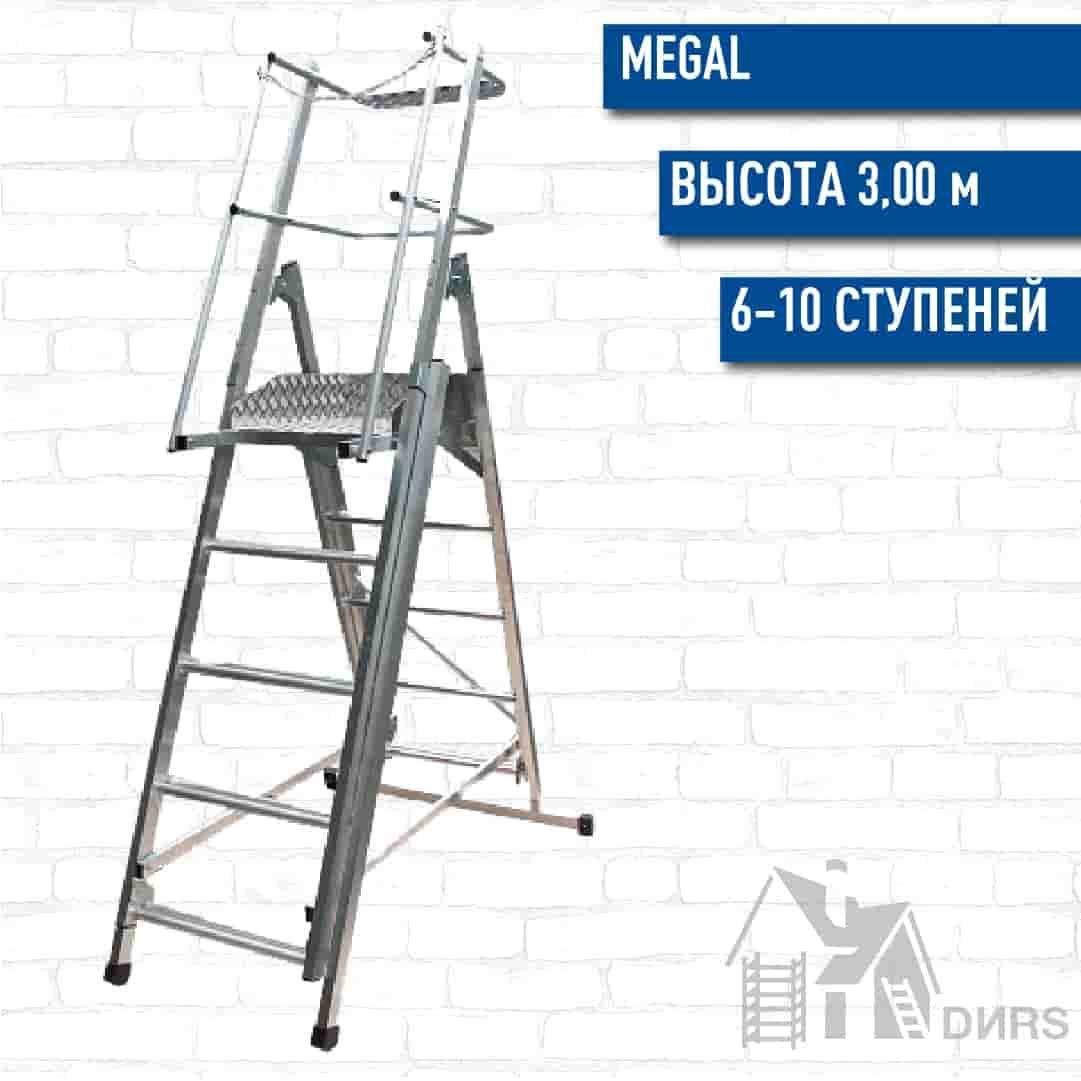 Телескопическая лестница платформа Мегал ТЛП-2 6-10 ступеней